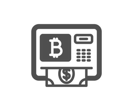 Bitcoin ATM icon. Cryptocurrency cash sign. Dollar money symbol. Quality design element. Classic style icon. Vector
