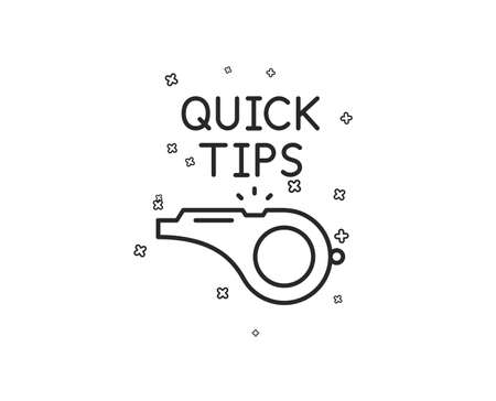 Quick tips whistle line icon. Helpful tricks sign. Geometric shapes. Random cross elements. Linear Tutorials icon design. Vector