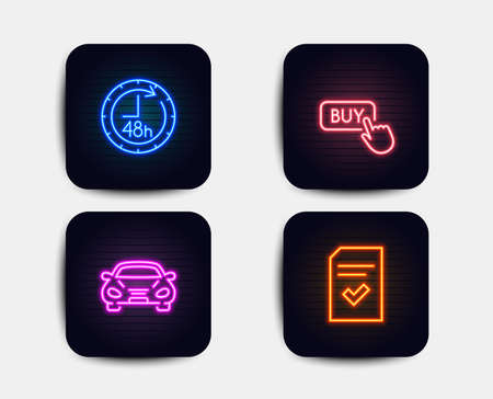 Neon glow lights. Set of Buy button, Car and 48 hours icons. Checked file sign. Online shopping, Transport, Delivery service. Correct document.  Neon icons. Glowing light banners. Vector Banque d'images - 115604696