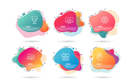 Dynamic liquid shapes. Set of Gift box, Ship and Wine glass icons. Music making sign. Present package, Shipping watercraft, Cabernet wineglass. Dj app.  Gradient banners. Fluid abstract shapes. Vector