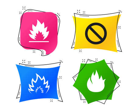 Fire flame icons. Prohibition stop sign symbol. Geometric colorful tags. Banners with flat icons. Trendy design. Vector