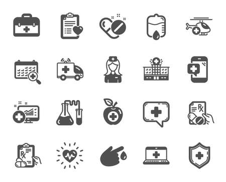 Medical rx icons. Hospital assistance, Ambulance, Health food diet, Laboratory tubes icons. First aid kit, Medical doctor, Prescription Rx recipe. Drop counter, Ambulance emergency car. Vector Stockfoto - 125986158