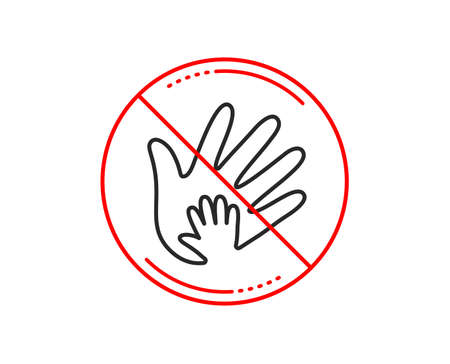 No or stop sign. Hand line icon. Social responsibility sign. Honesty, collaboration symbol. Caution prohibited ban stop symbol. No  icon design.  Vector