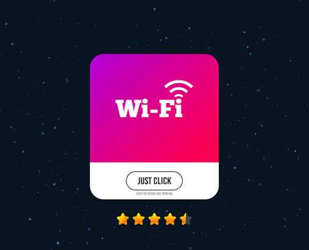 Señal wifi gratuita. Símbolo wifi. Icono de red inalámbrica. Zona wifi. Diseño de icono web o internet. Estrellas de calificación. Simplemente haga clic en el botón. Vector Ilustración de vector