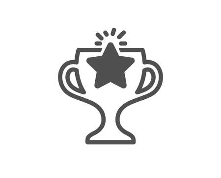 Winner cup icon. Sport Trophy with Star symbol. Victory achievement or Championship prize sign. Quality design element. Classic style icon. Vector