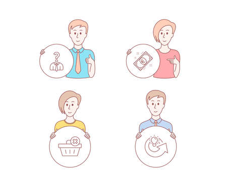 People hand drawn style. Set of Delete order, Hiring employees and Euro money icons. Share idea sign. Clean basket, Human resources, Cash. Solution.  Character hold circle button. Man with like hand