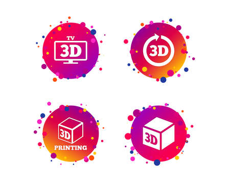 3d tv technology icons. Printer, rotation arrow sign symbols. Print cube. Gradient circle buttons with icons. Random dots design. Vector