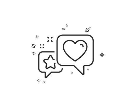 Star, heart line icon. Feedback rating sign. Customer satisfaction symbol. Geometric shapes. Random cross elements. Linear Heart icon design. Vector Illustration