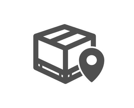 Parcel tracking icon. Delivery monitoring sign. Shipping box location symbol. Quality design element. Classic style icon. Vector