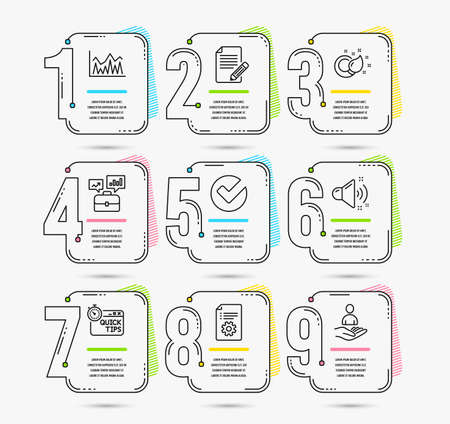 Infographic template with numbers 9 options. Set of Technical documentation, Investment and Quick tips icons. Paint brush, Article and Loud sound signs. Vector