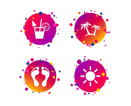 Beach holidays icons. Cocktail, human footprints and palm trees signs. Summer sun symbol. Gradient circle buttons with icons. Random dots design. Vector Illustration