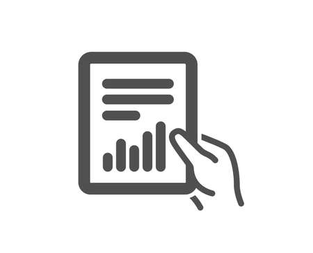 Hold Report document icon. Analysis Chart or Sales growth sign. Statistics data symbol. Quality design element. Classic style icon. Vector