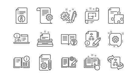 Technical documentation line icons. Instruction, Plan and Manual. Algorithm linear icon set.  Vector Standard-Bild - 115605344