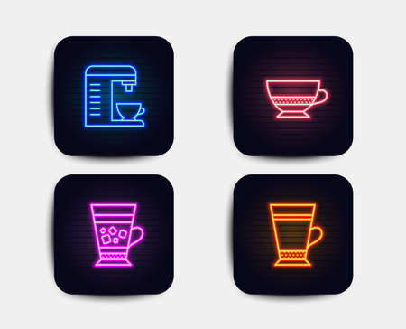 Neon glow lights. Set of Bombon coffee, Coffee machine and Frappe icons. Latte sign. Cafe bombon, Cappuccino machine, Cold drink.  Neon icons. Glowing light banners. Vector Vectores