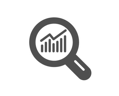 Chart icon. Report graph or Sales growth sign in Magnifying glass. Analysis and Statistics data symbol. Quality design element. Classic style icon. Vector