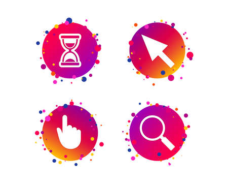 Mouse cursor and hand pointer icons. Hourglass and magnifier glass navigation sign symbols. Gradient circle buttons with icons. Random dots design. Vector