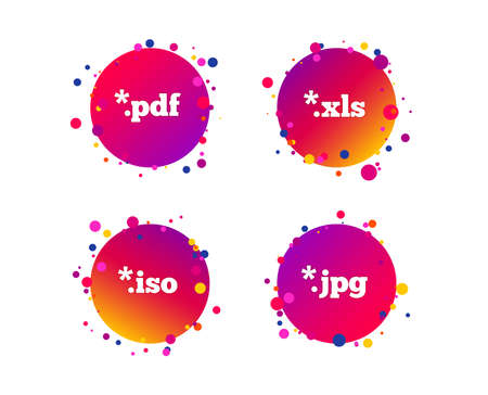Document icons. File extensions symbols. PDF, XLS, JPG and ISO virtual drive signs. Gradient circle buttons with icons. Random dots design. Vector