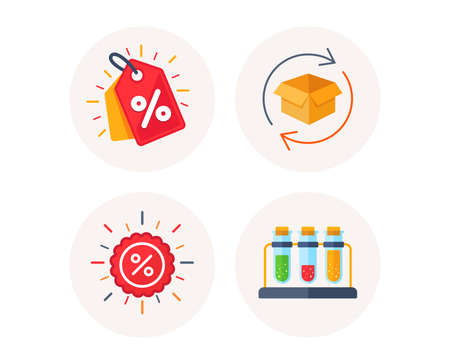 Set of Discount tag, Sale discount and Return parcel icons. Chemistry sign. Sale coupon, Shopping banner, Exchange goods. Laboratory tubes. Colorful icons in round buttons. Vector