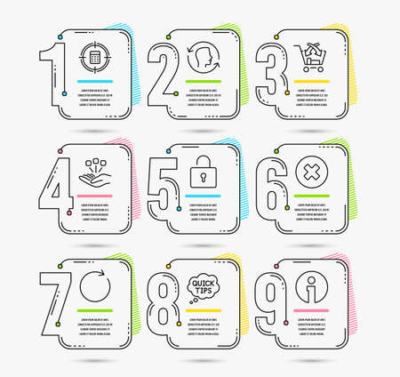 Infographic template with numbers 9 options. Set of Cross sell, Close button and Consolidation icons. Quick tips, Lock and Synchronize signs. Calculator target, Face id and Info symbols. Vector