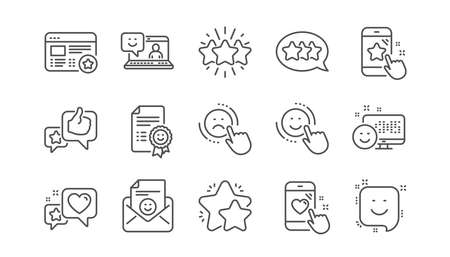 Feedback line icons. User Opinion, Customer service and Star Rating. Customer satisfaction linear icon set. Vector