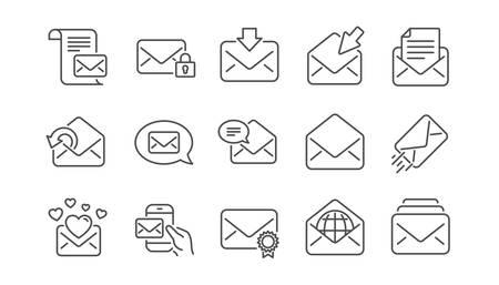 Icone della riga del messaggio di posta. Newsletter, e-mail, corrispondenza. Insieme dell'icona di comunicazione lineare. Vettore