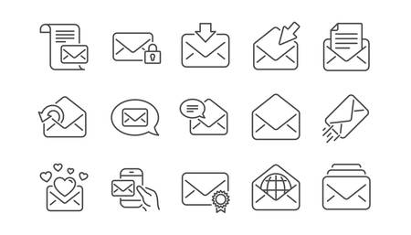Mail message line icons. Newsletter, E-mail, Correspondence. Communication linear icon set.  Vector Ilustracja