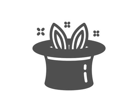 Hat-trick icon. Magic tricks with hat and rabbit sign. Illusionist show symbol. Quality design element. Classic style icon. Vector