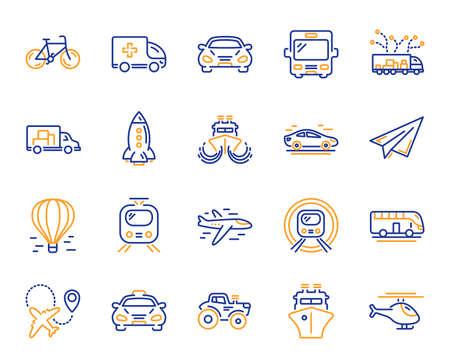 Ikony linii transportu. Ikony taxi, helikopter i pociąg metra. Transport samochodowy, tramwajowy i lotniczy. Rower, samolot na lotnisku i statek, metro. Autobus podróżny, samochód pogotowia, papierowy samolot. Wektor