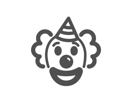 Clown icon. Amusement park funnyman sign. Quality design element. Classic style icon. Vector