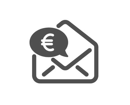 Euro via mail icon. Send or receive money sign. Quality design element. Classic style icon. Vector