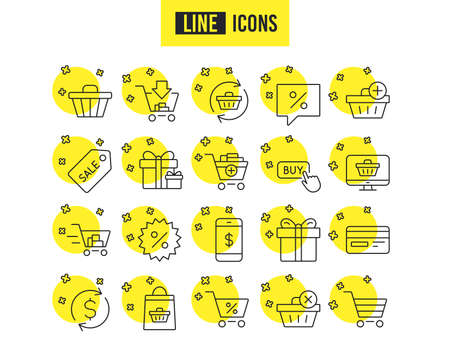 Shopping line icons. Gifts, Presents and Sale offer signs. Shopping cart, Tags and Delivery symbols. Speech bubble, Discount and Credit card. Online buying. Quality futuro design icons. Vector
