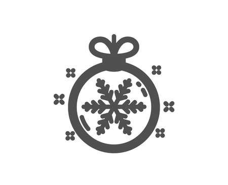 Christmas ball with snowflake icon. New year tree decoration sign. Quality design element. Classic style icon. Vector 일러스트