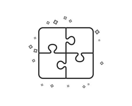Puzzle line icon. Engineering strategy sign. Geometric shapes. Random cross elements. Linear Puzzle icon design. Vector 일러스트