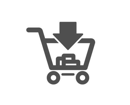 Add to Shopping cart icon. Online buying sign. Supermarket basket symbol. Quality design element. Classic style icon. Vector