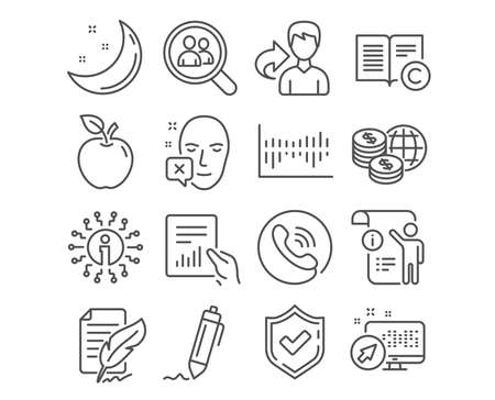 Set of Search employees, Column diagram and Copyright icons. Document, Manual doc and Signature signs. Feather signature, Face declined and World money symbols. Vector Ilustração