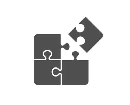 Puzzle icon. Engineering strategy sign. Quality design element. Classic style icon. Vector Illusztráció