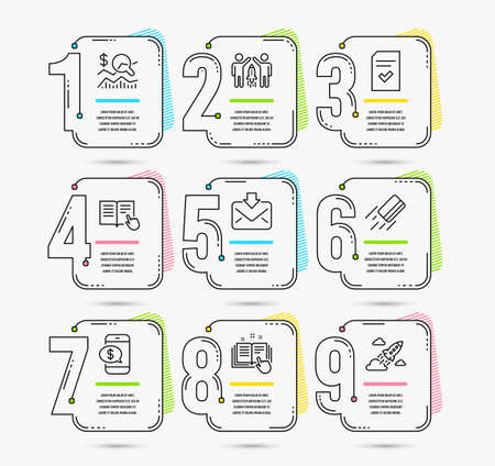 Infographic template with numbers 9 options. Set of Check investment, Incoming mail and Technical documentation icons. Partnership, Phone payment and Read instruction signs. Vector
