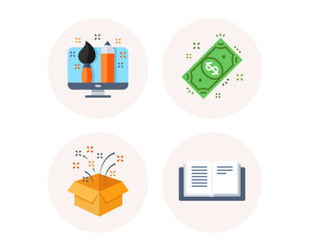 Set of Dollar money, Gift box and Creative designer icons. Open book sign. Cash payment, Birthday present, Portfolio. Education. Colorful icons in round buttons. Vector