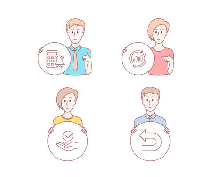 People hand drawn style. Set of Approved, Update data and Calculator alarm icons. Undo sign. Verified symbol, Sales chart, Accounting. Left turn.  Character hold circle button. Man with like hand