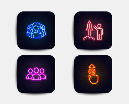 Neon glow lights. Set of Group, Women group and Launch project icons. Swipe up sign. Lady service, Business innovation, Touch technology.  Neon icons. Glowing light banners. Vector Illustration