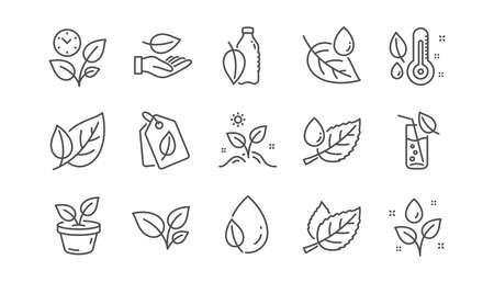 Pflanzensymbole. Blatt, wachsende Pflanze und Feuchtigkeitsthermometer. Linearer Symbolsatz für Wassertropfen. Vektor