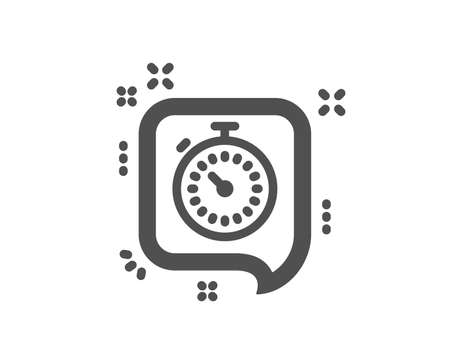 Timer icon. Time or clock in speech bubble sign. Quality design element. Classic style icon. Vector