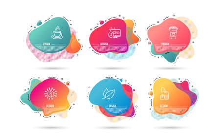 Dynamic liquid shapes. Set of Tea bag, Mint leaves and Tea cup icons. Takeaway coffee sign. Brew hot drink, Mentha herbal, Coffee mug. Hot latte drink.  Gradient banners. Fluid abstract shapes. Vector Çizim