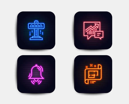 Neon glow lights. Set of Attraction, Accounting and Clock bell icons. Architectural plan sign. Free fall, Supply and demand, Alarm. Technical project.  Neon icons. Glowing light banners. Vector Illustration