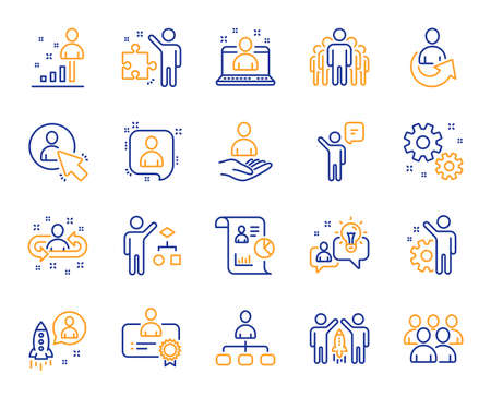 Management line icons. Set of Business audit, Startup strategy and Employee icons. Business strategy, Startup and Teamwork. Organization management, report and group algorithm. Employee job. Vector 일러스트