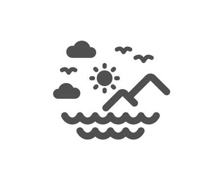 Travel sea mountains icon. Sun, clouds and waves sign. Summer holidays symbol. Quality design element. Classic style icon. Vector Иллюстрация