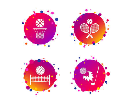 Tennis rackets with ball. Basketball basket. Volleyball net with ball. Golf fireball sign. Sport icons. Gradient circle buttons with icons. Random dots design. Vector