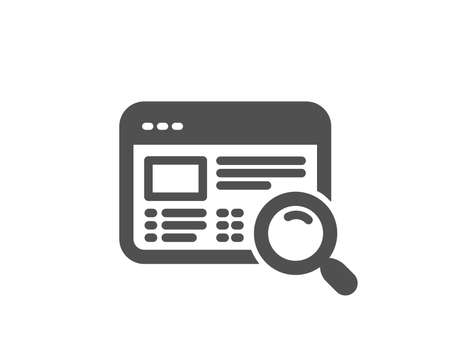Website search icon. Find internet page results sign. Quality design element. Classic style icon. Vector