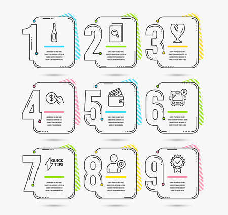 Infographic template with numbers 9 options. Set of Search files, Debit card and Fragile package icons. Payment, Champagne and Security signs. Quickstart guide, Bus parking and Certificate symbols 向量圖像