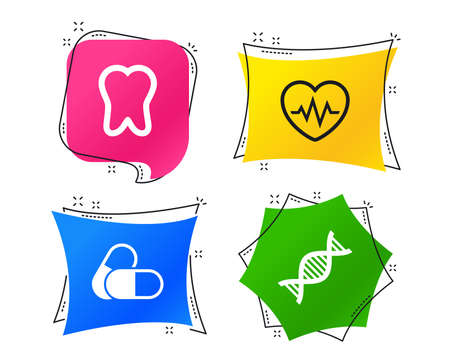 Maternity icons. Pills, tooth, DNA and heart cardiogram signs. Heartbeat symbol. Deoxyribonucleic acid. Dental care. Geometric colorful tags. Banners with flat icons. Trendy design. Vector Standard-Bild - 115606101